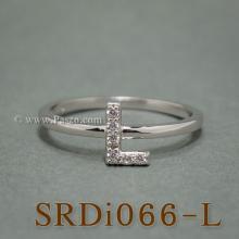 แหวนตัวแอล แหวนตัวอักษร L แหวนเงิน ฝังเพชร แหวนเพชร