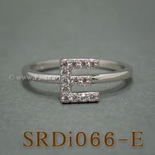 แหวนตัวอี แหวนตัวอักษร E แหวนเงิน ฝังเพชร แหวนเพชร
