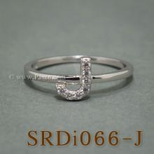 แหวนตัวเจ แหวนตัวอักษร J แหวนเงิน ฝังเพชร แหวนเพชร