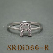 แหวนตัวอาร์ แหวนตัวอักษร R แหวนเงิน ฝังเพชร แหวนเพชร