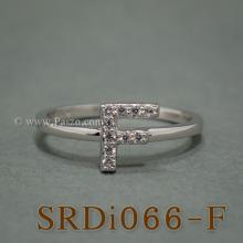 แหวนตัวเอฟ แหวนตัวอักษร F แหวนเงิน ฝังเพชร แหวนเพชร