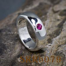 แหวนทับทิม แหวนเงิน พลอยสีแดง เม็ดเดี่ยว แหวนหน้าโค้ง กว้าง6มิล ฝังทับทิม ฝังเหยียบ