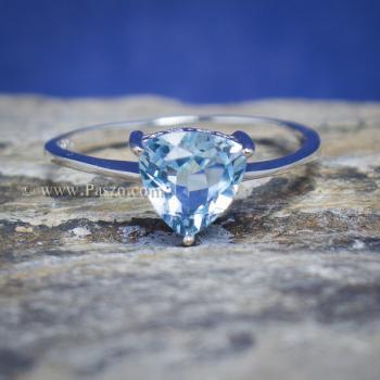 แหวนพลอยอความารีน พลอยสามเหลี่ยม แหวนเงิน #6