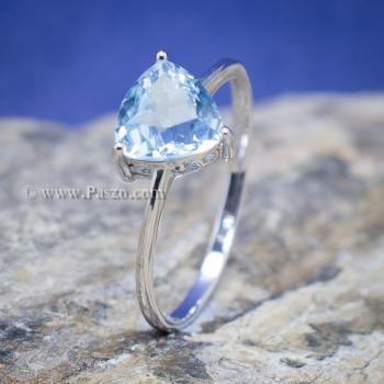 แหวนพลอยอความารีน พลอยสามเหลี่ยม แหวนเงิน #7