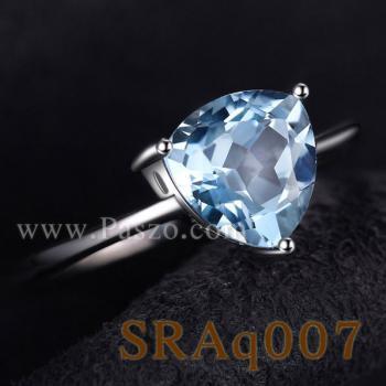 แหวนพลอยอความารีน พลอยสามเหลี่ยม แหวนเงิน #5