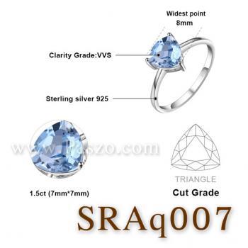 แหวนพลอยอความารีน พลอยสามเหลี่ยม แหวนเงิน #2