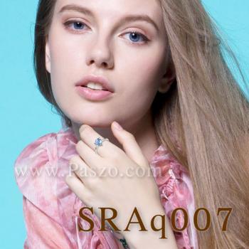 แหวนพลอยอความารีน พลอยสามเหลี่ยม แหวนเงิน #4