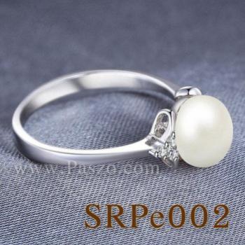 แหวนไข่มุก ประดับเพชร แหวนเงินแท้ #3