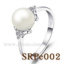 แหวนไข่มุก ประดับเพชร แหวนเงินแท้