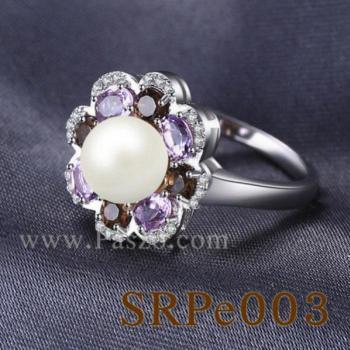 แหวนไข่มุก ประดับพลอย แหวนเงินแท้ #4