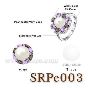 แหวนไข่มุก ประดับพลอย แหวนเงินแท้ #5