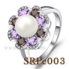 แหวนไข่มุก ประดับพลอย แหวนเงินแท้ แหวนดอกไม้