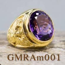 แหวนพญาครุฑ แหวนทอง90 ฝังพลอยสีม่วง แหวนพลอยสีม่วง อะเมทีส แหวนผู้ชายทองแท้
