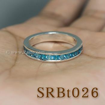 แหวนพลอยสีฟ้า ฝังพลอยรอบวง แหวนเงิน #5