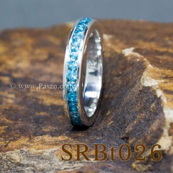 แหวนพลอยสีฟ้า ฝังพลอยรอบวง แหวนเงิน #3