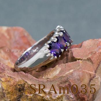 แหวนพลอยสีม่วง แหวนเงิน แหวนแถว #3