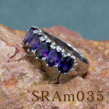 แหวนพลอยสีม่วง แหวนเงิน แหวนแถว #5
