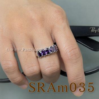 แหวนพลอยสีม่วง แหวนเงิน แหวนแถว #6