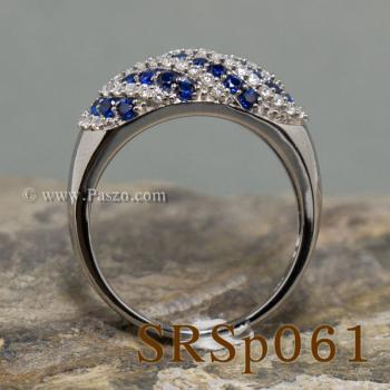 แหวนพลอยไพลิน แหวนเงินแท้ ประดับเพชร #5
