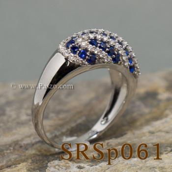 แหวนพลอยไพลิน แหวนเงินแท้ ประดับเพชร #4