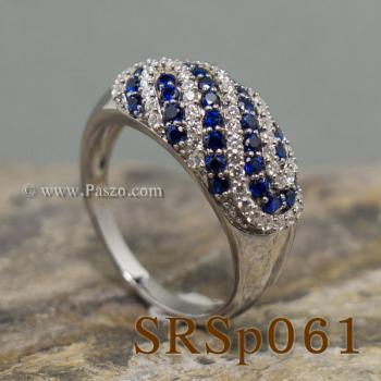 แหวนพลอยไพลิน แหวนเงินแท้ ประดับเพชร #6