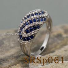 แหวนพลอยไพลิน แหวนเงินแท้ ประดับเพชร
