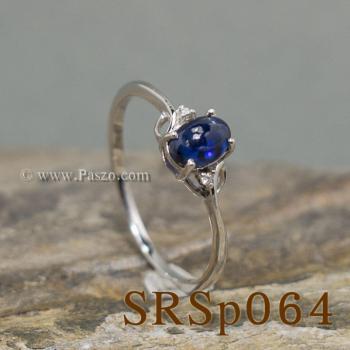 แหวนไพลิน ประดับเพชร แหวนเงินแท้ #2