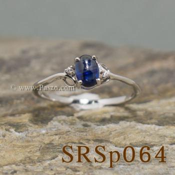 แหวนไพลิน ประดับเพชร แหวนเงินแท้ #4