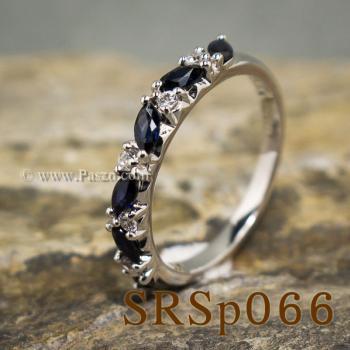แหวนไพลิน พลอยทรงมาคี คั่นเพชร #3