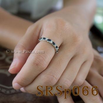 แหวนไพลิน พลอยทรงมาคี คั่นเพชร #4