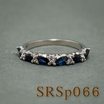 แหวนไพลิน พลอยทรงมาคี คั่นเพชร #2