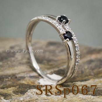 แหวนไพลิน พลอยคู่ ประดับเพชร #2