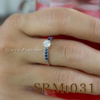 แหวนเพชร บ่าพลอยไพลิน แหวนเงินแท้ #4