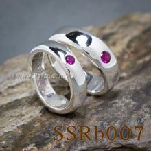 ชุดแหวนคู่ แหวนเกลี้ยงหน้าโค้ง ฝังพลอยสีแดง แหวนทับทิม