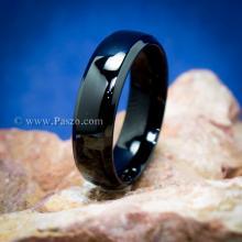 แหวนเกลี้ยง รมดำ หน้ากว้าง6มิล ขอบแหวนตะไบเฉียง แหวนสแตนเลส