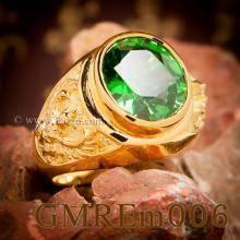 แหวนพญาครุฑ แหวนทอง90 ฝังพลอยสีเขียวมรกต แหวนผู้ชายทองแท้ แหวนพลอยมรกต