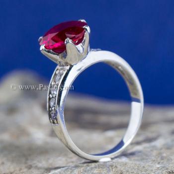 แหวนทับทิม แหวนชูพลอย แหวนเงินแท้ #4