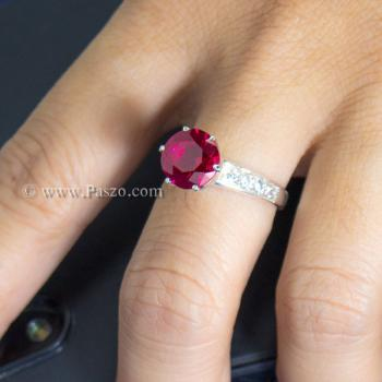 แหวนทับทิม แหวนชูพลอย แหวนเงินแท้ #2