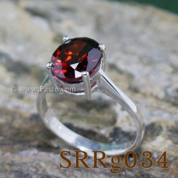 แหวนโกเมน แหวนเงิน แหวนพลอยสีแดงเข้ม #3