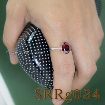 แหวนโกเมน แหวนเงิน แหวนพลอยสีแดงเข้ม #2