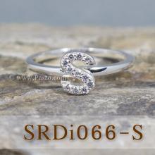 แหวนตัวเอส แหวนตัวอักษร S แหวนเงิน ฝังเพชร แหวนเพชร