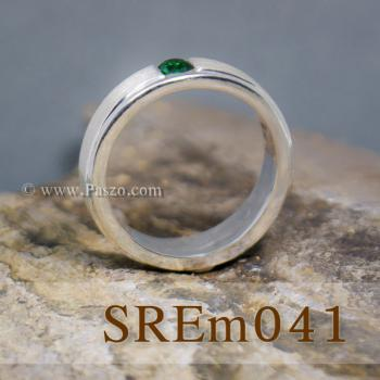 แหวนมรกต แหวนเงินแท้ ฝังพลอยสีเขียว #2