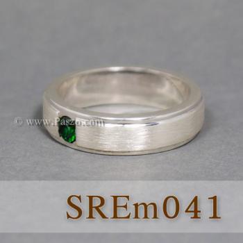 แหวนมรกต แหวนเงินแท้ ฝังพลอยสีเขียว #5