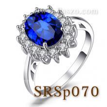 แหวนไพลิน แหวนพลอยสีน้ำเงิน หนามเตยถี่ ล้อมเพชร แหวนเงินแท้ ชุดไดแอนน่า