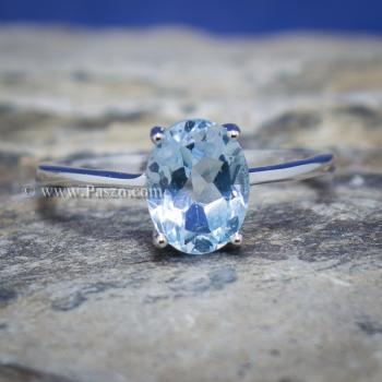 แหวนพลอยอความารีน พลอยเม็ดรี แหวนเงิน #6