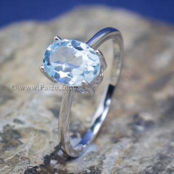 แหวนพลอยอความารีน พลอยเม็ดรี แหวนเงิน #7
