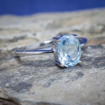 แหวนพลอยอความารีน พลอยเม็ดรี แหวนเงิน #8