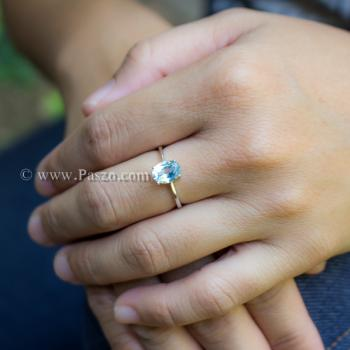 แหวนพลอยอความารีน พลอยเม็ดรี แหวนเงิน #5