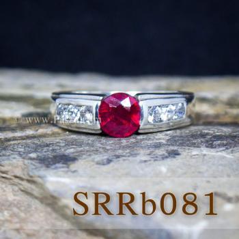 แหวนทับทิม แหวนเงิน พลอยสีแดง #5