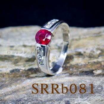 แหวนทับทิม แหวนเงิน พลอยสีแดง #3
